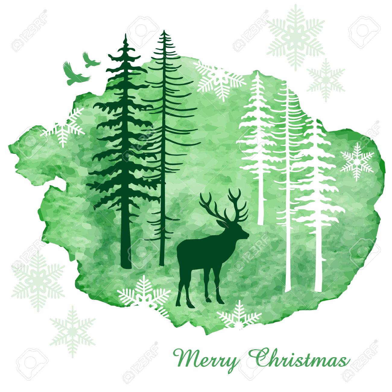 Christmas card with reindeer, watercolor painting, vector illustration - 48412161
