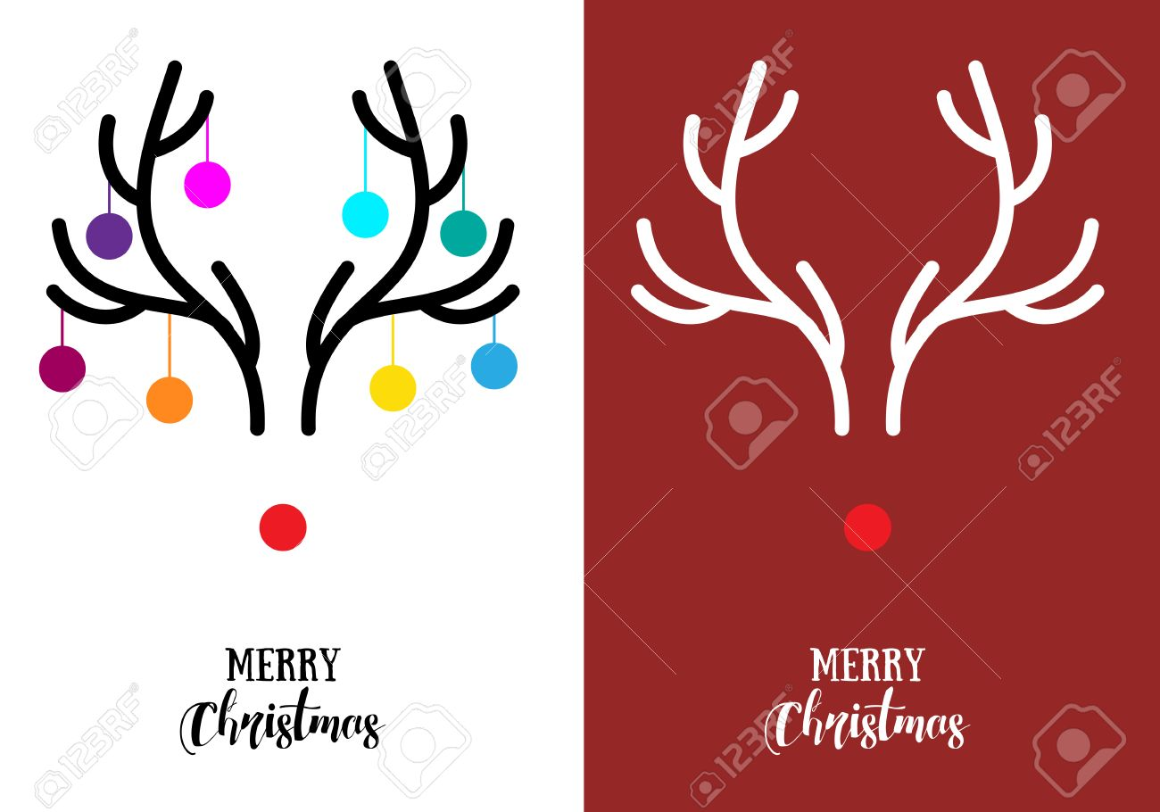 Simple, Modern Christmas Cards With Red Nose Reindeer Rudolph ...