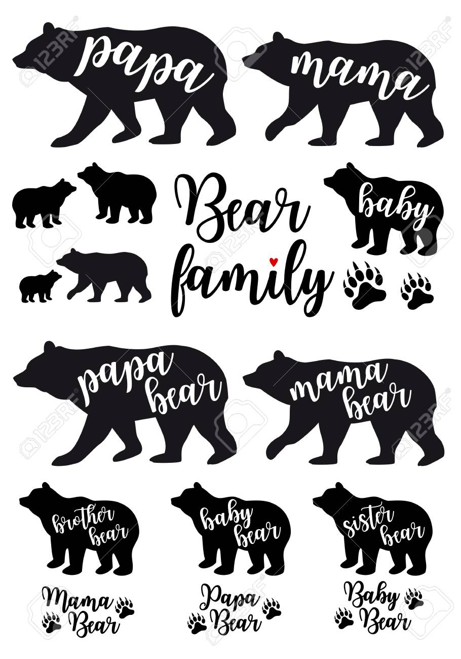 Mama bear, papa bear, baby bear silhouettes, set of vector graphic design elements - 95046882