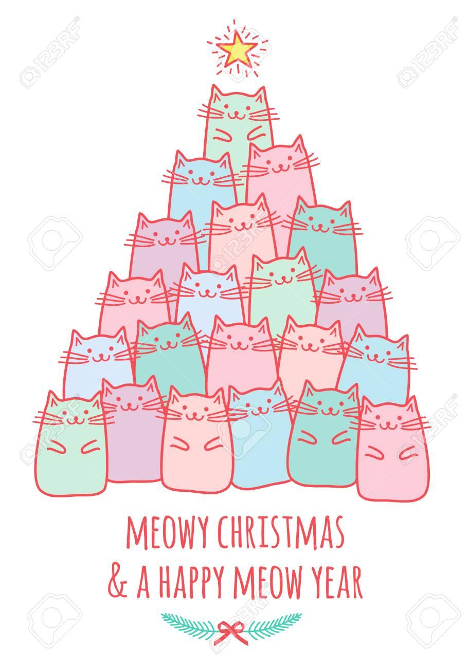Meowy Christmas.Christmas Card With Cute Kawaii Cats Meowy Christmas Vector
