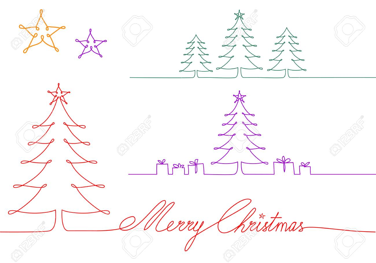Christmas Trees Drawing.One Continuous Line Christmas Trees Single Line Drawing Vector