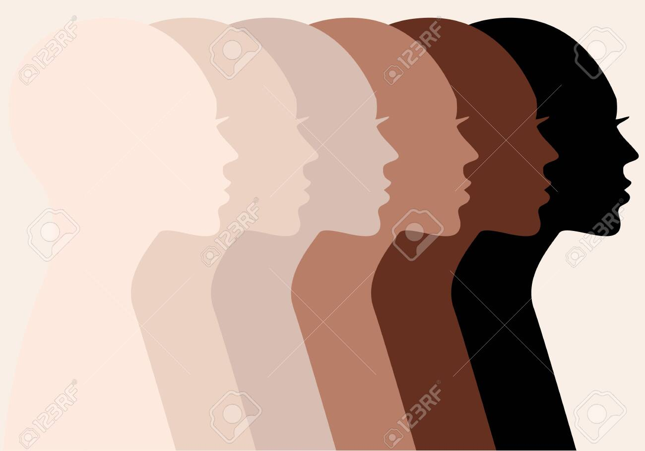 Female profile silhouettes, different skin colors, people of color, vector illustration - 156867537