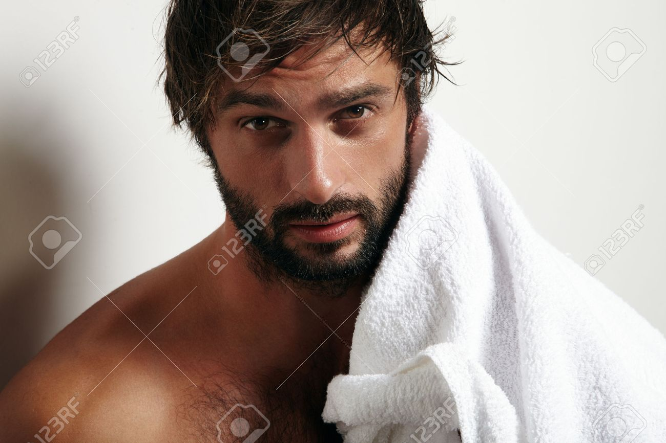 portrait of a beauty man with a beard and towel - 38269890
