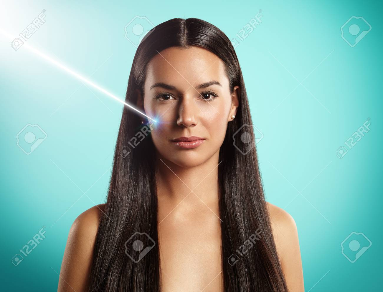 woman's laser cosmetology or surgery - 34674684