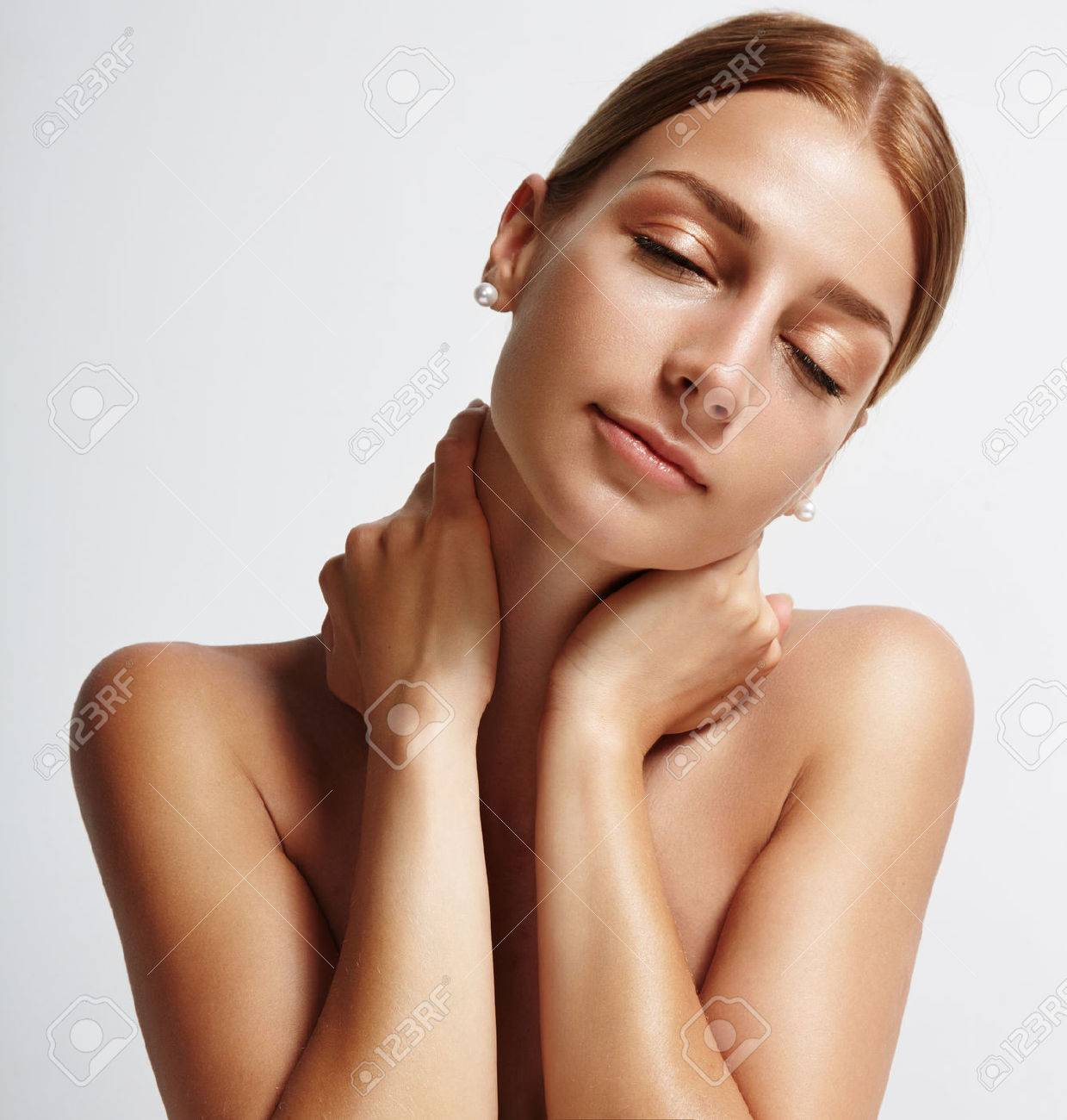 happy woman with closed eyes - 34674894