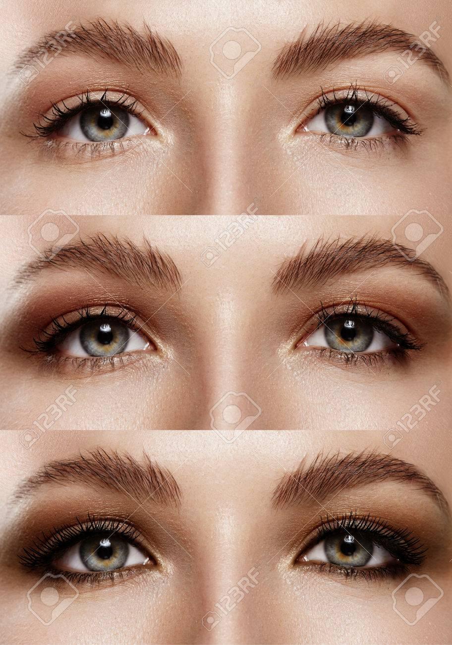 Nahaufnahme Frau Augen Und Zeigt Schritt Für Schritt Augen Make Up
