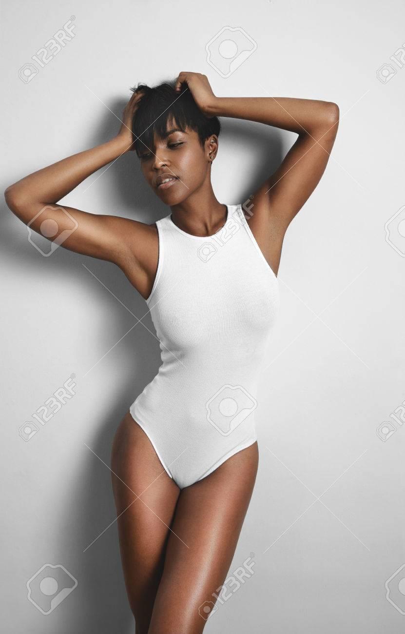 beauty black woman wearing underwear body - 45423702