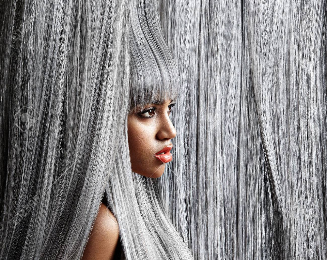 Woman's profile in trendy grey hair background - 51992991