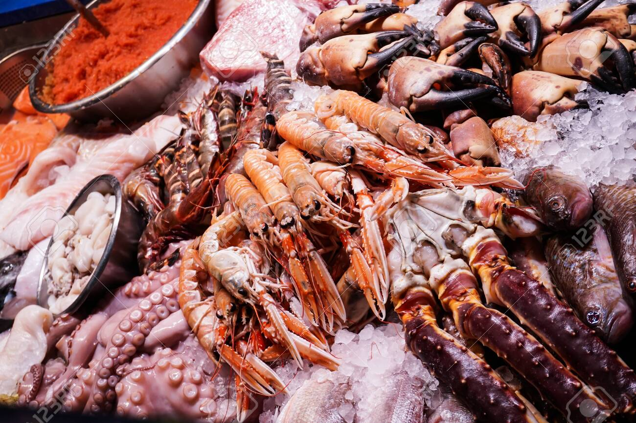 Sea shells being sold at a market in Copenhagen, Denmark. - 130807871