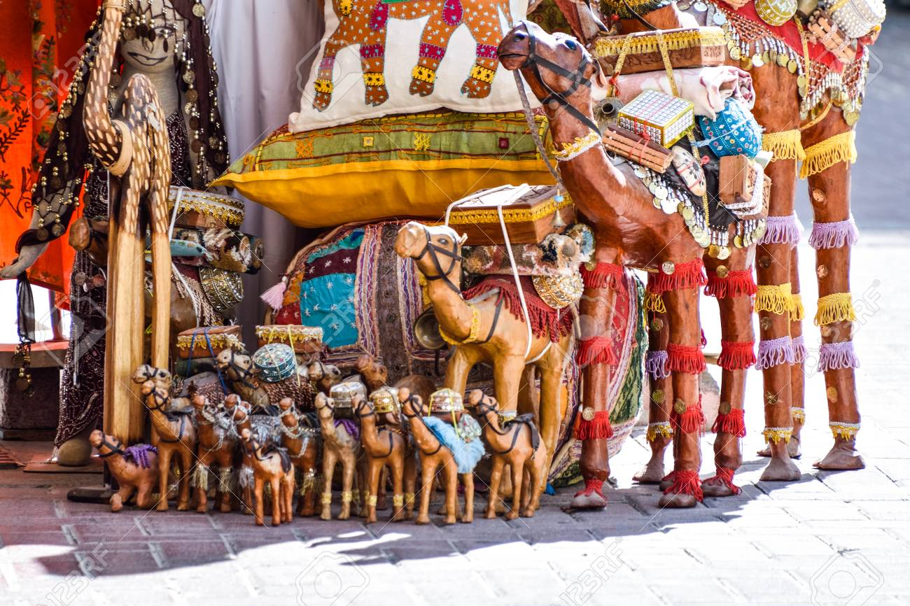 dubai, united arab emirates -november 6, 2015: wooden camel toy..