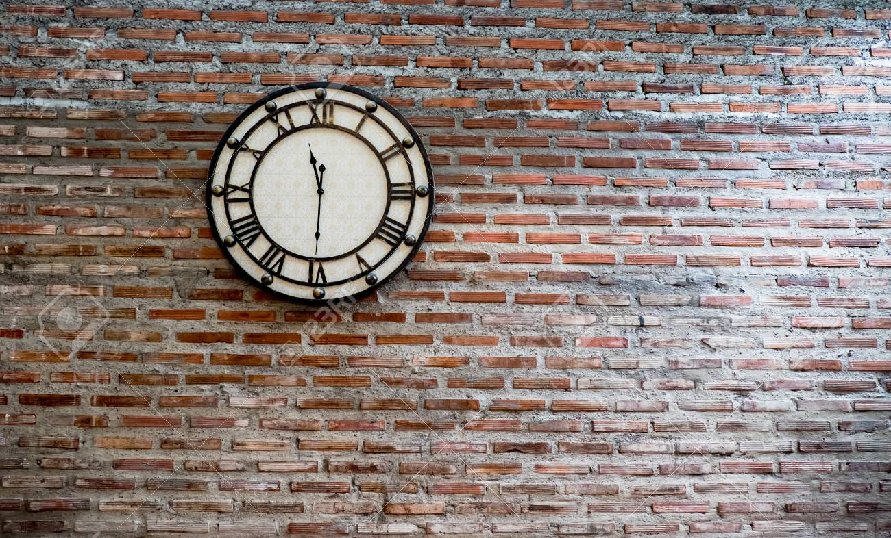 Vintage Clock On Brick Wall Background Stock Photo Picture And Royalty Free Image Image 80760465
