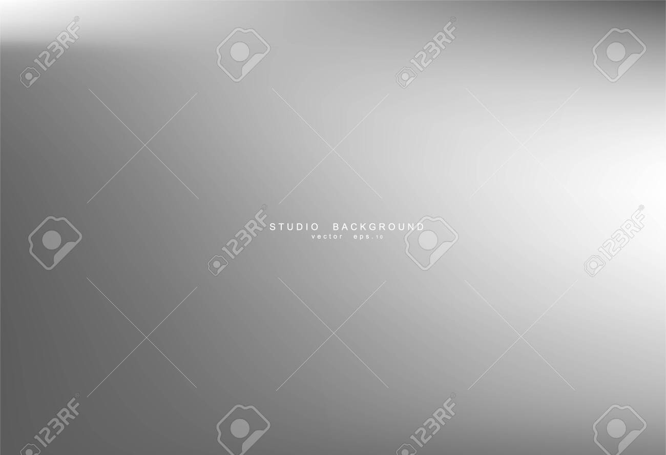Gradient gray abstract background. Blurred smooth gray color, bright light effect holographic, silver graphic soft design wallpaper, vector illustration - 146947613