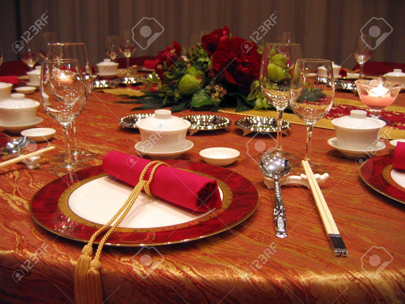 Chinese table setting - Chinese Wedding Banquet Table Setting Stock Photo 586102