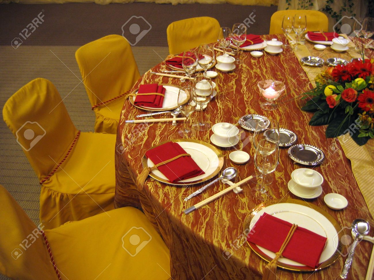 Chinese table setting - Chinese Wedding Banquet Table Setting Stock Photo 586093