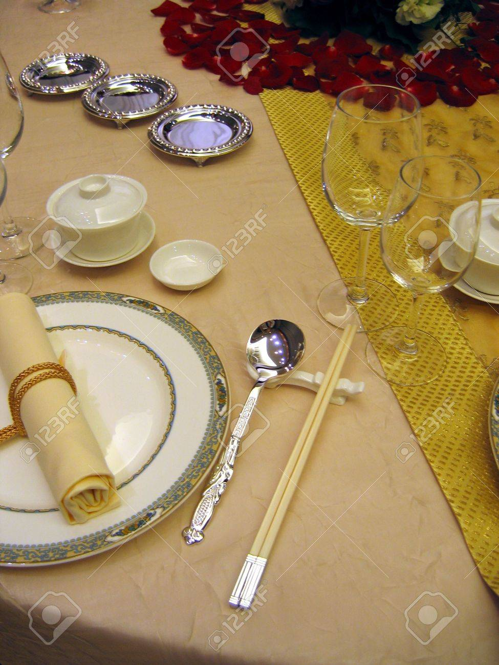 Chinese table setting - Chinese Wedding Banquet Table Setting Stock Photo 588336