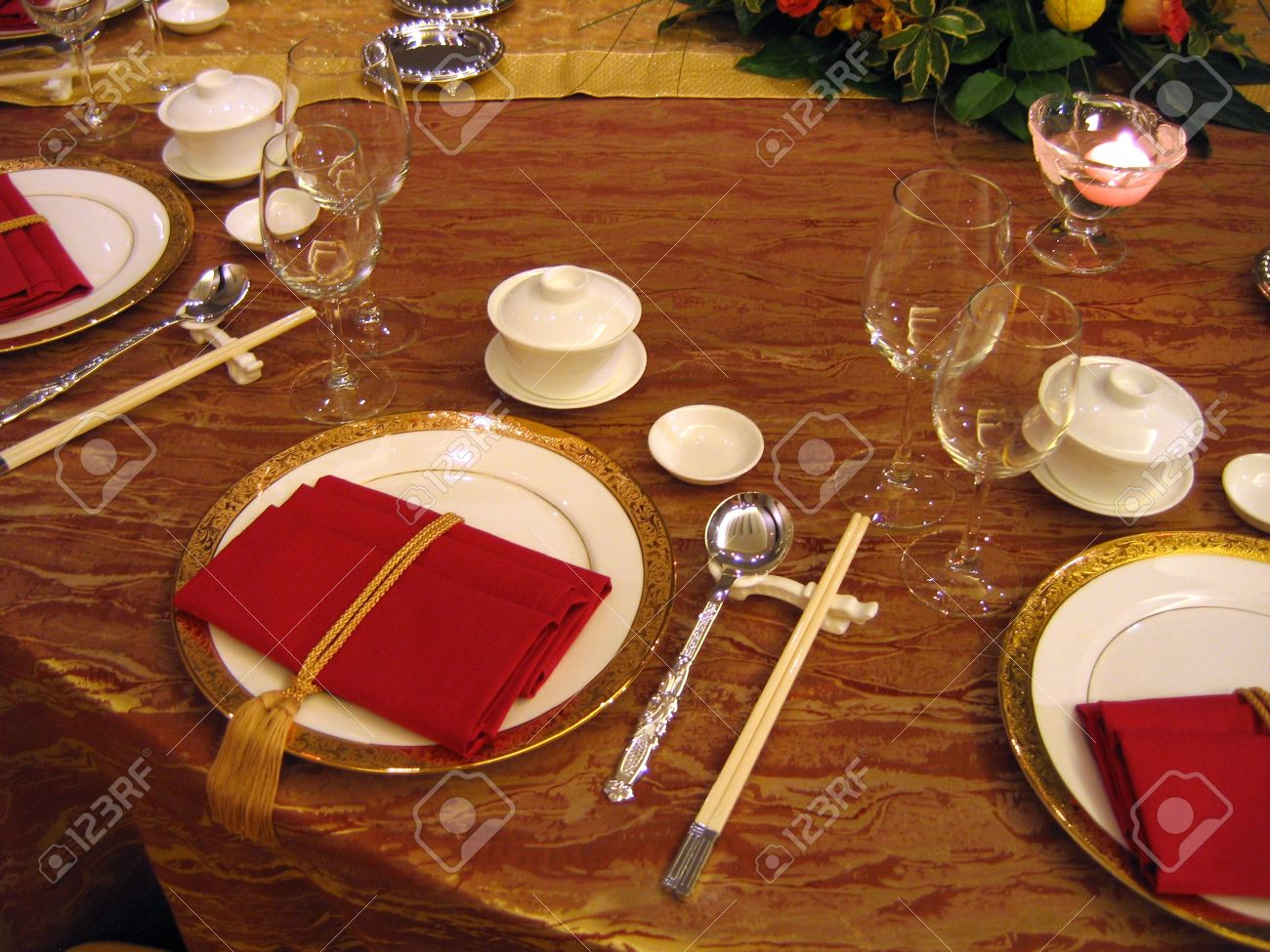 Banquet Table Setting Part - 49: Chinese Wedding Banquet Table Setting Stock Photo - 588257