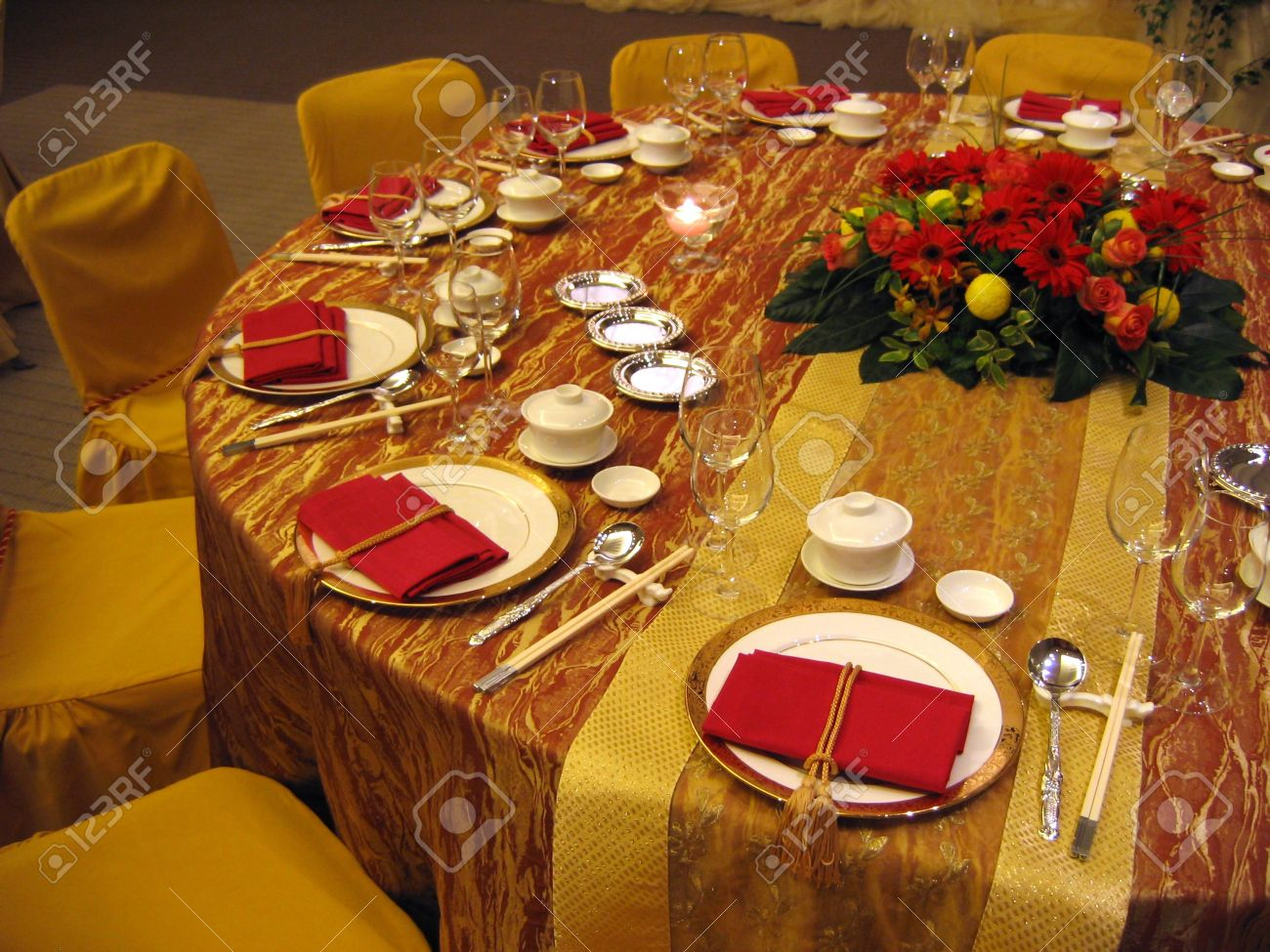 Chinese table setting - Chinese Wedding Banquet Table Setting Stock Photo 588256