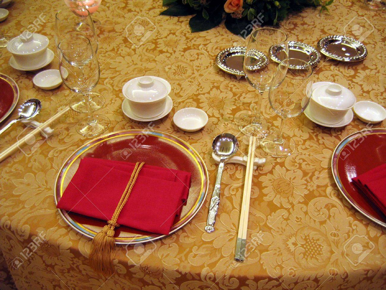 Chinese table setting - Chinese Wedding Banquet Table Setting Stock Photo 588249