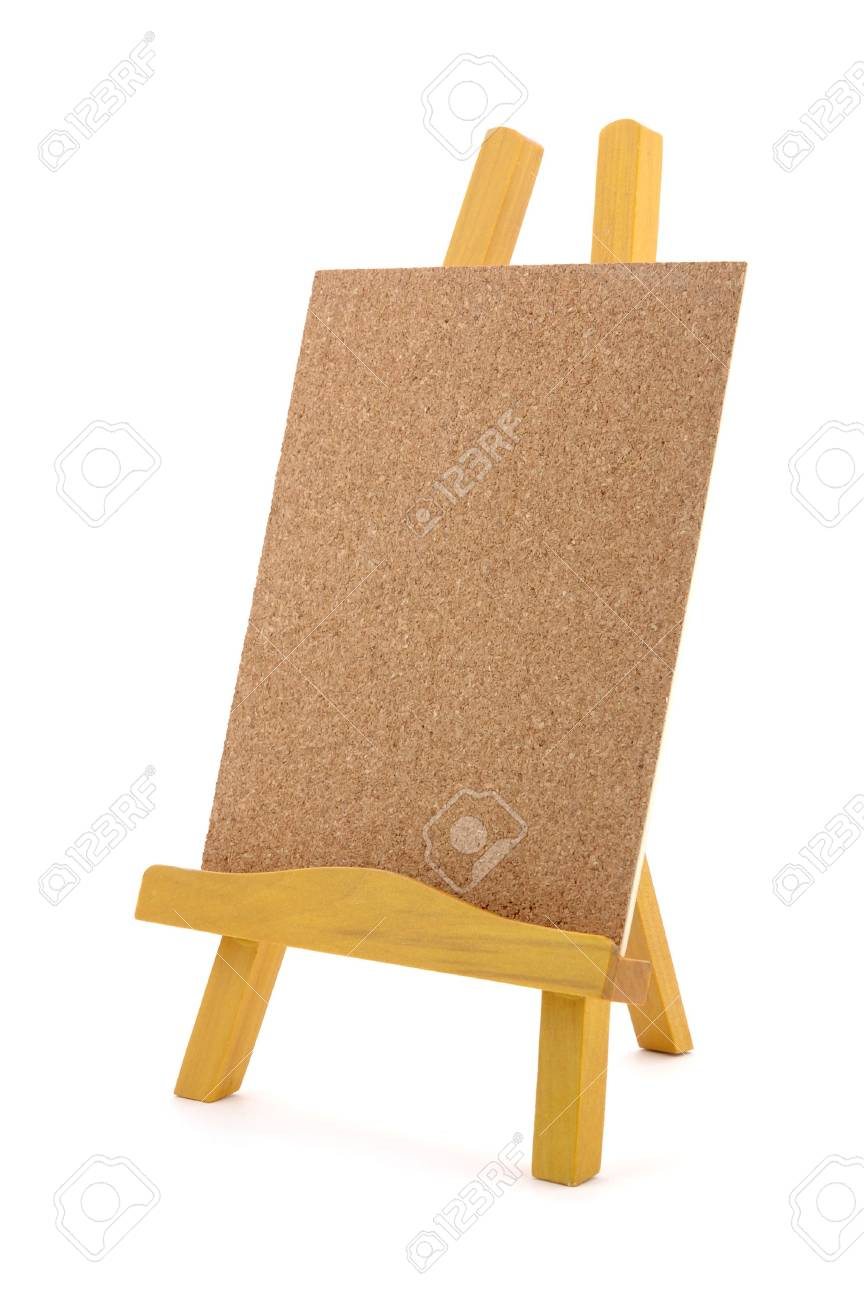 Corkboard with wooden stand in isolated white background Stock Photo - 601195