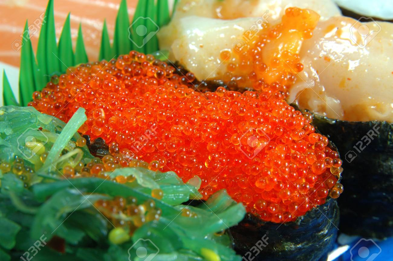 Close Up Of Flying Fish Roe Sushi Stock Photo, Picture And Royalty ...