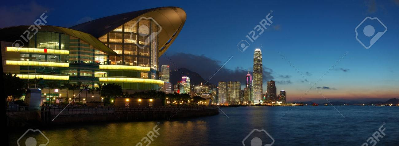 Panorama view of Hong Kong cityscape in sunset Stock Photo - 1696146