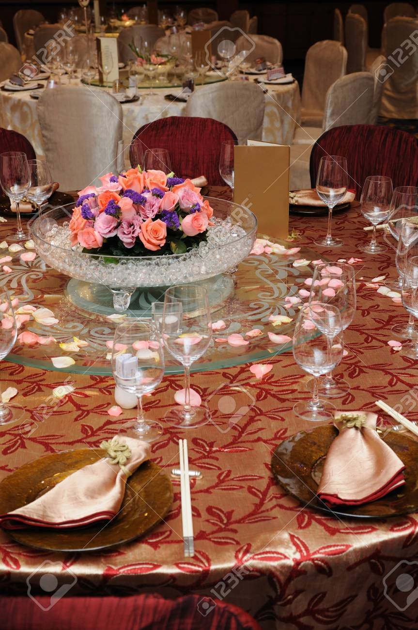 Chinese table setting - Table Setting In A Chinese Wedding Reception Stock Photo 4458112