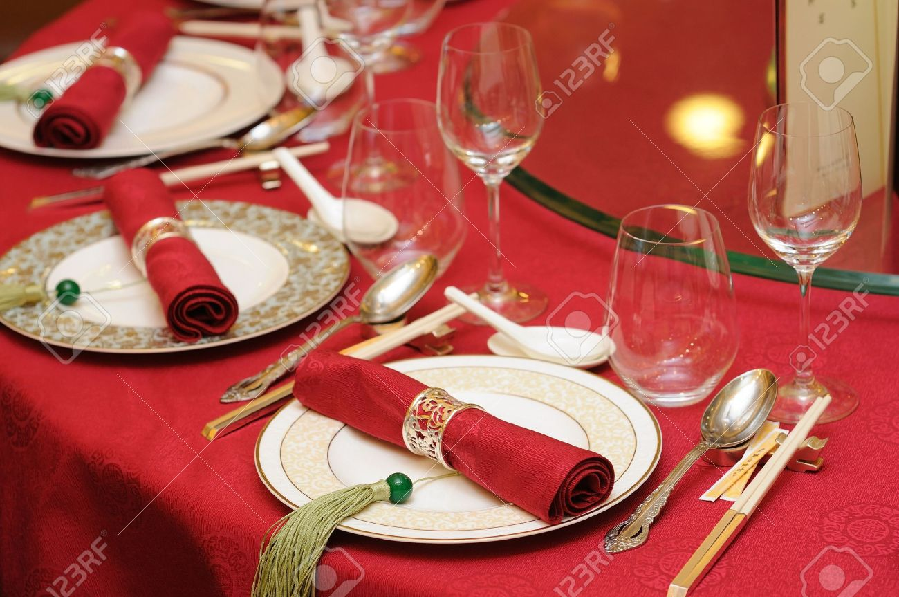 Banquet Table Setting Part - 25: Chinese Wedding Banquet Table Setting Stock Photo - 11017104