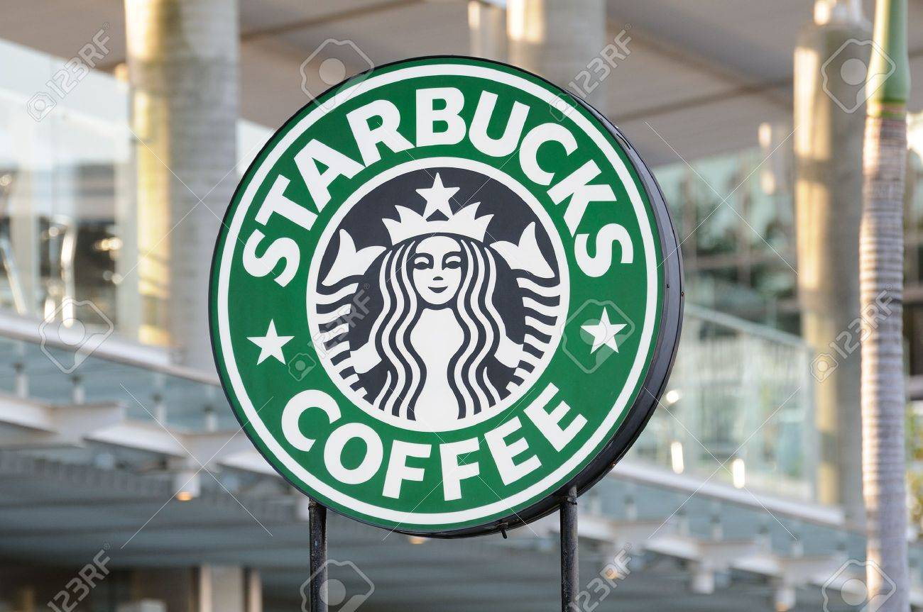 Starbucks Coffee sign in Avenue Of Stars, Hong Kong - 14612477