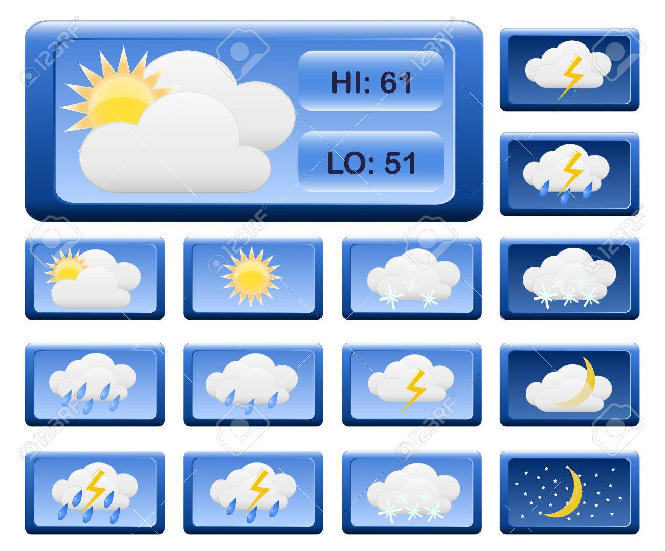 Icons for weather report. Stock Vector - 6748088