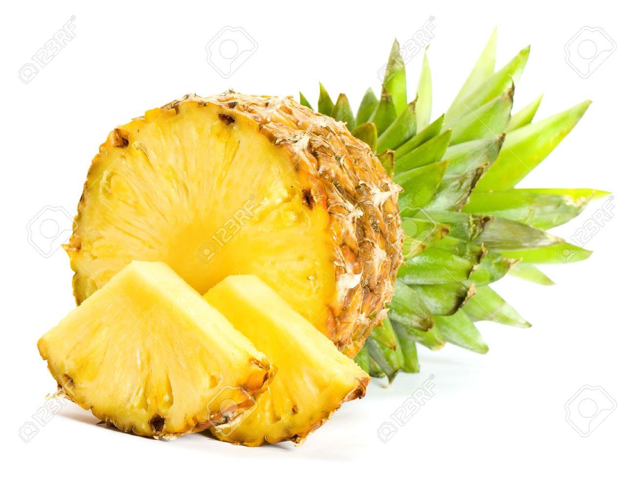 Fresh slice pineapple on white background - 8775637