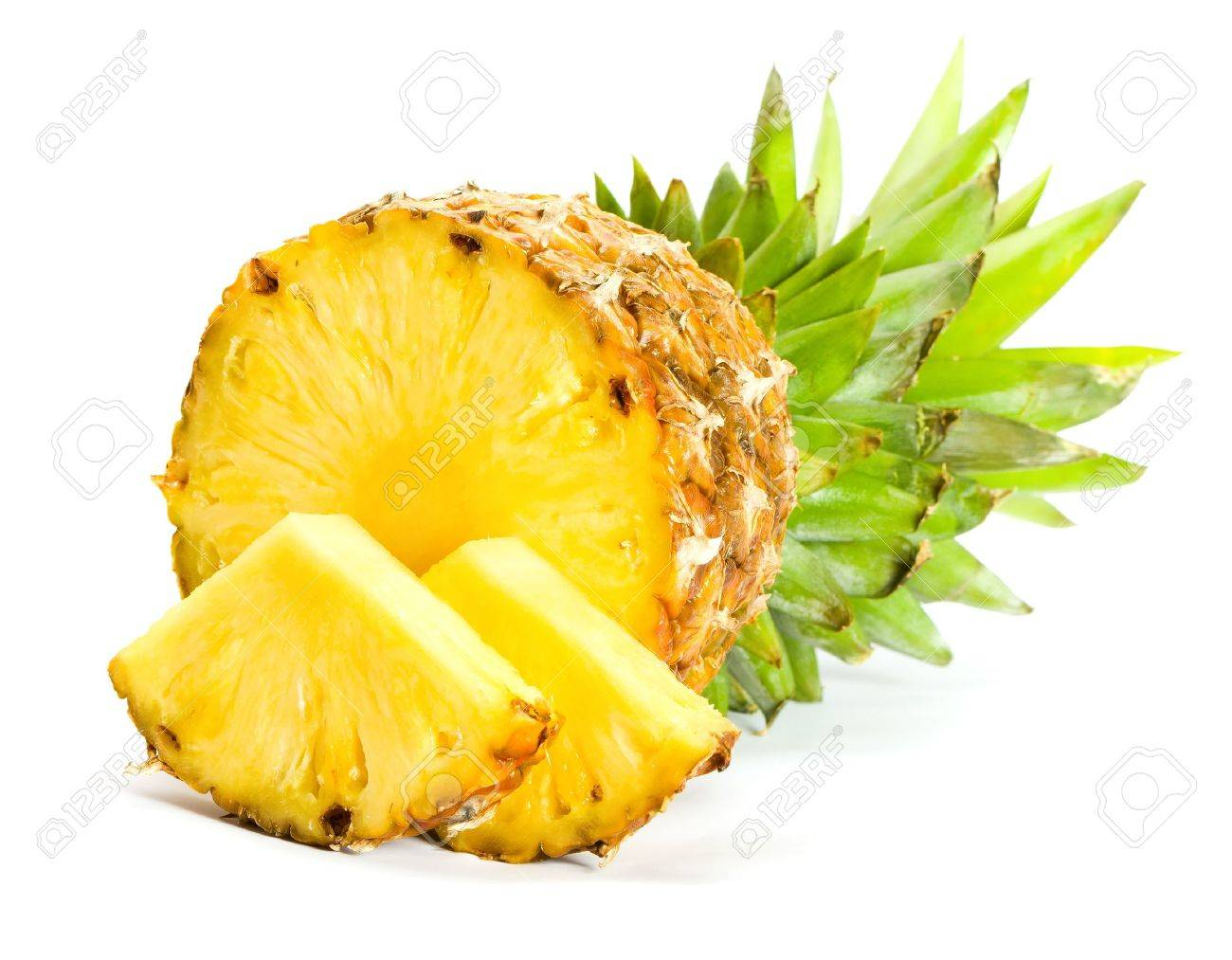 Fresh slice pineapple on white background - 8775635