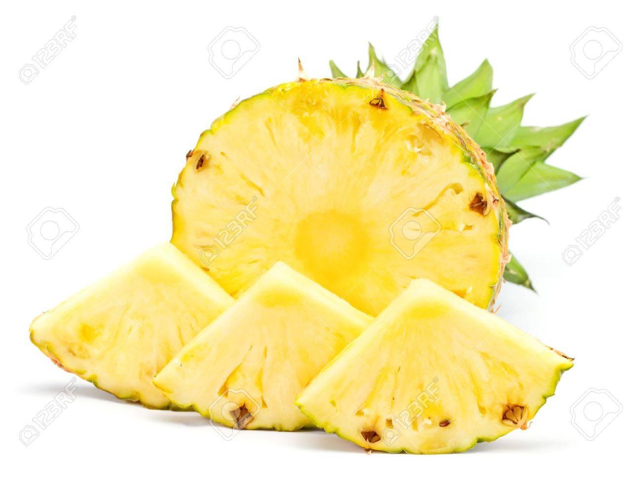 Fresh slice pineapple on white background - 9939852