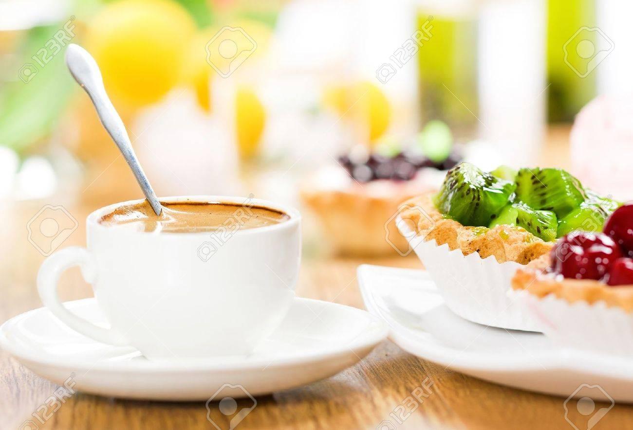 Fruit dessert and coffee - 10842204