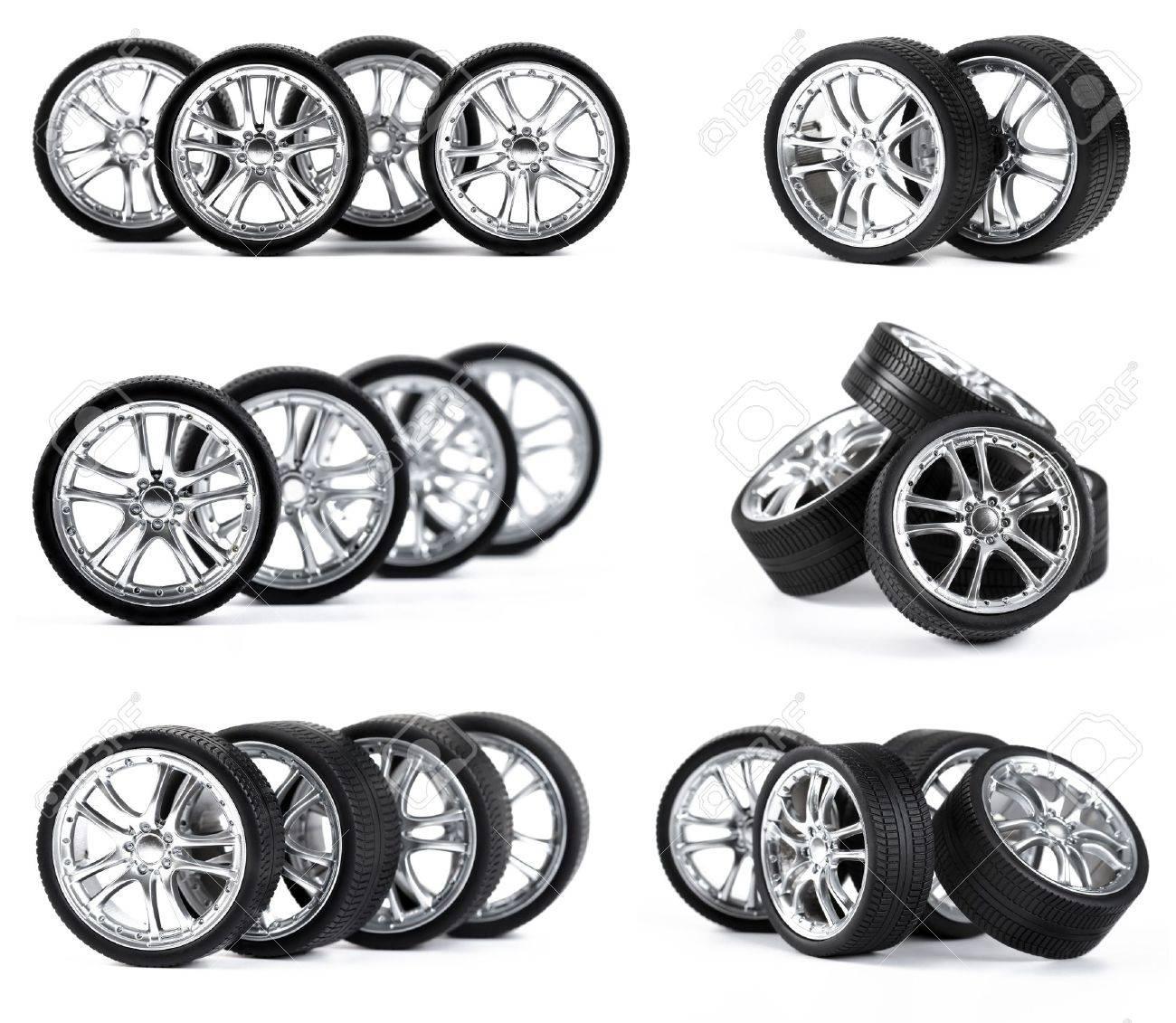 Car wheels on white background. Stock Photo - 11065617