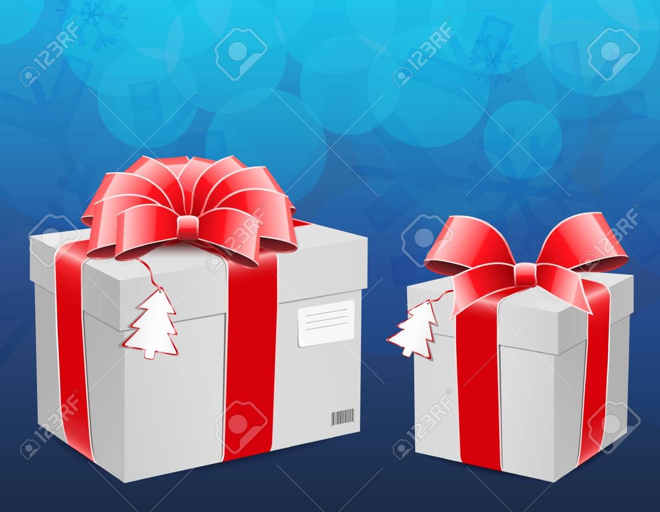 New year box with red bow Stock Vector - 11146859