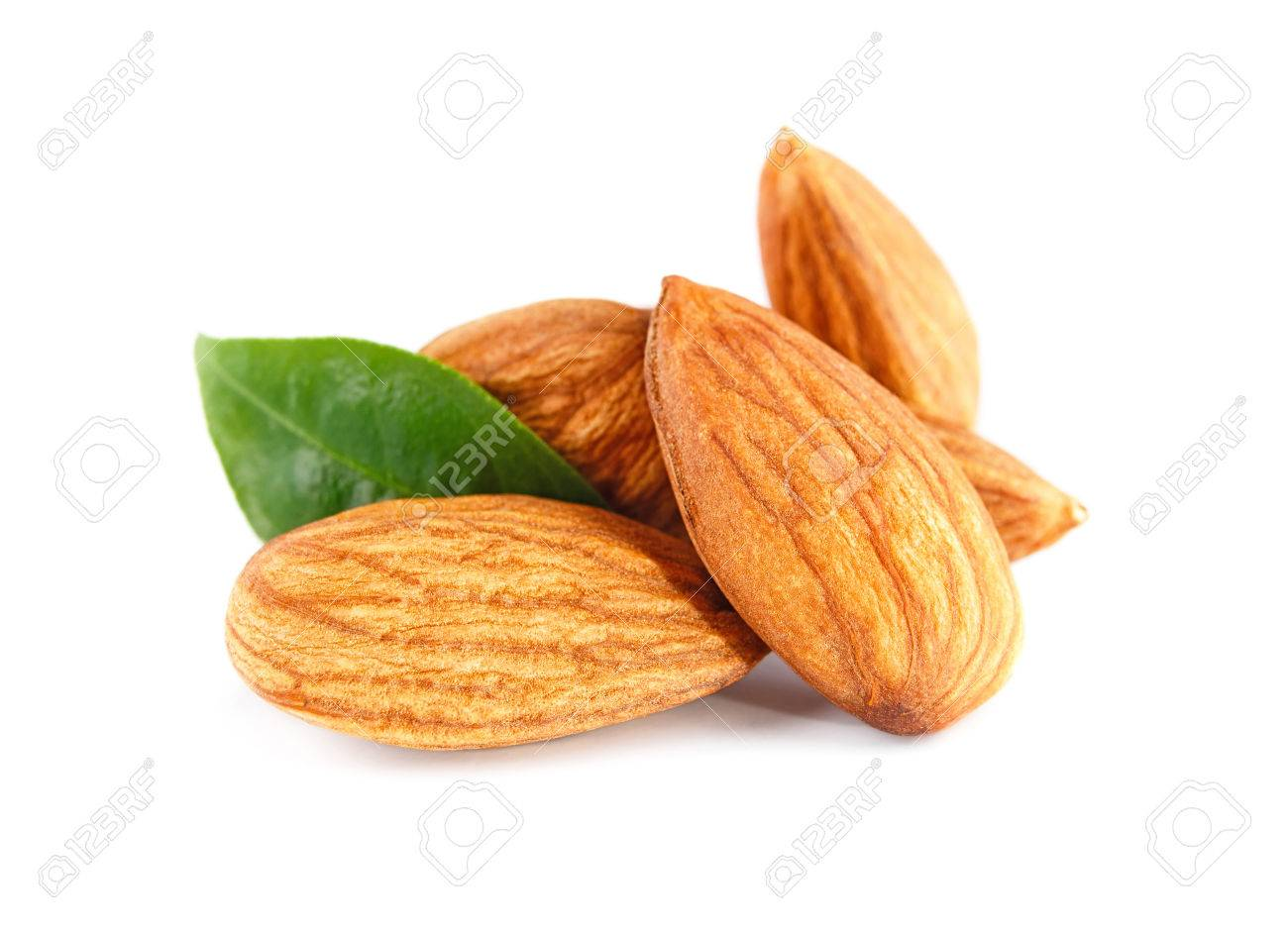 Almonds nuts isolated on white - 61662839