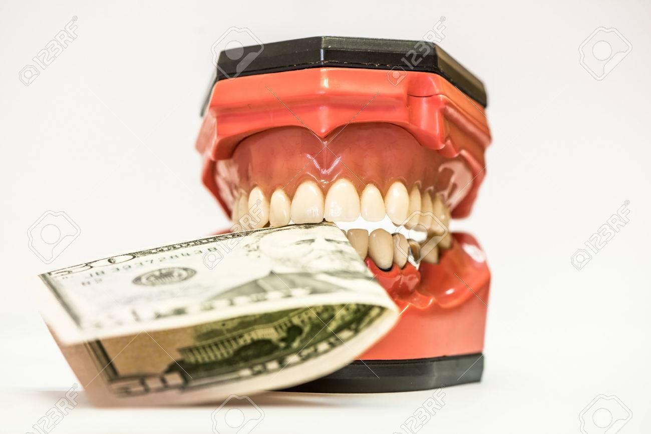 Dental phantom, dentures isolated on white background with money between jaws Stock Photo - 36899160