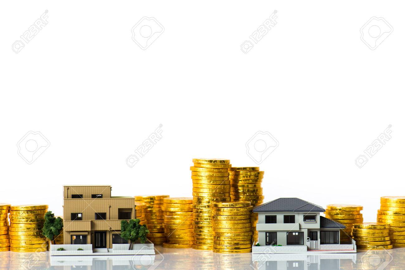 House model and lots of gold coins, white background - 80679070