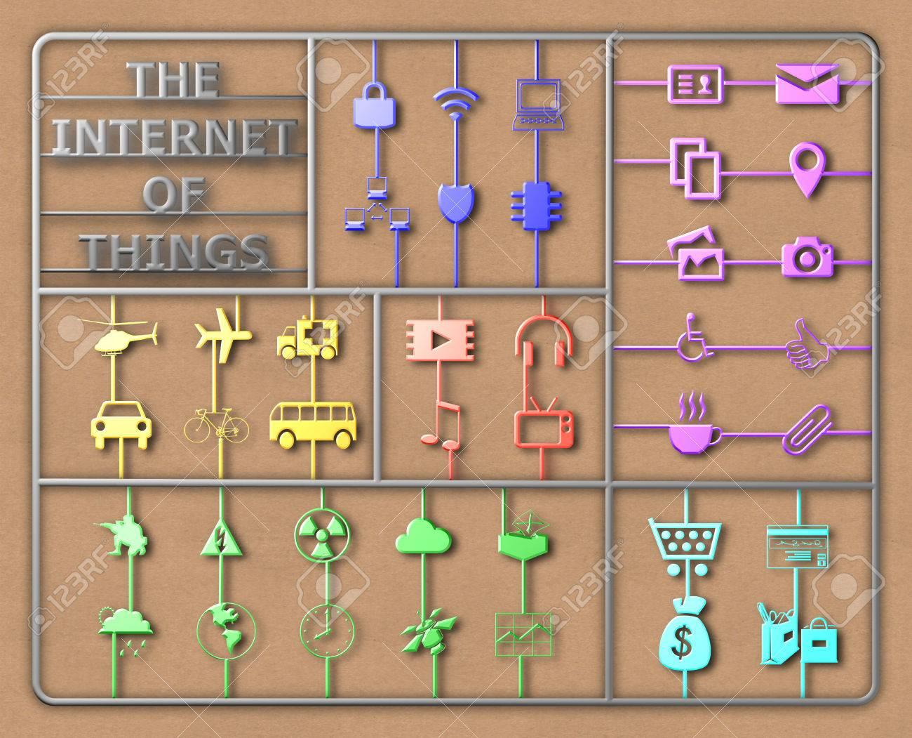 Internet De Las Cosas Concepto De Marco De Ilustración De Bricolaje ...