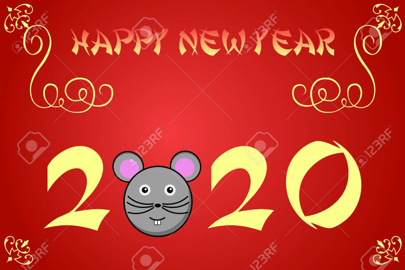 Happy Chinese New Year Card Illustration For 2020 The Year Of