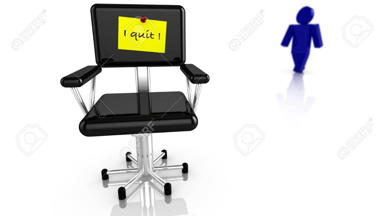 Noir chaise de bureau avec un préavis de démission jaune et un