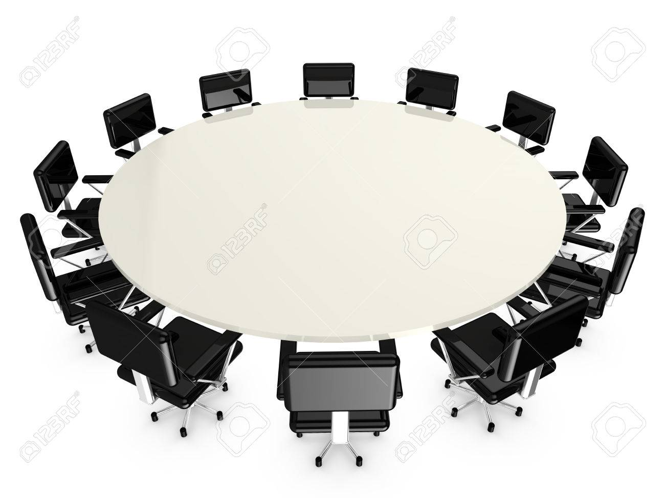 Round White Conference Table With Black Office Armchairs On - Round conference table for 12