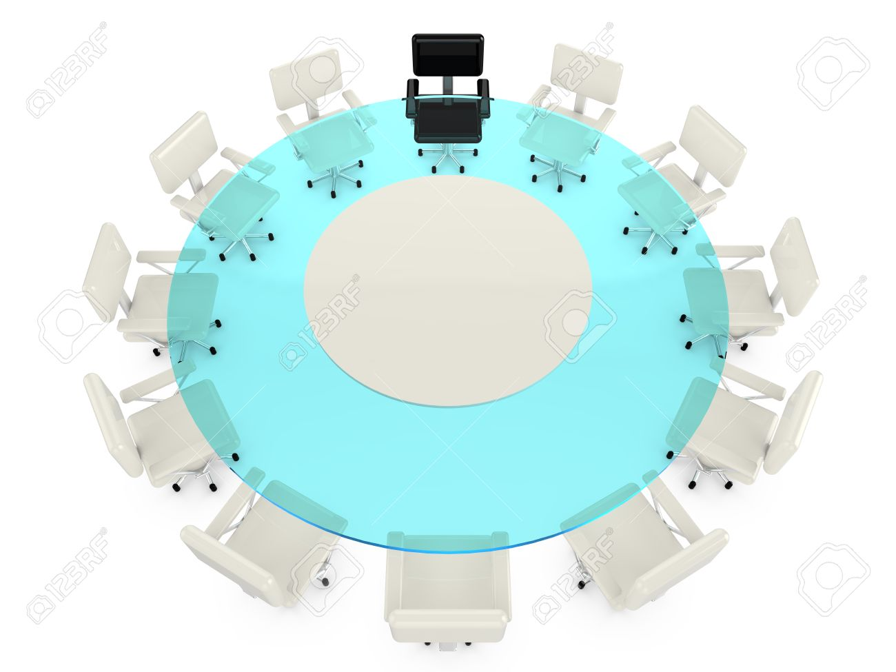 Round Glass Conference Table With White Office Armchairs And - Round glass conference table