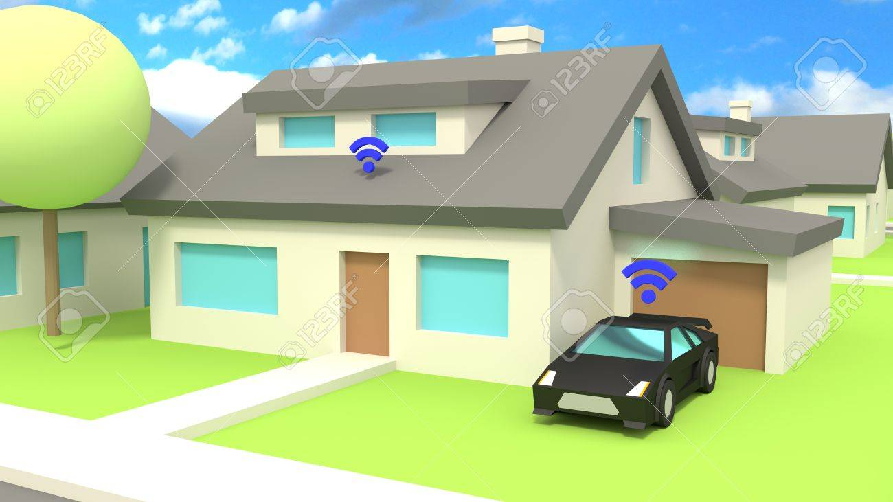 Small Village Low Poly Traffic Scene With A Car And A House Both ...