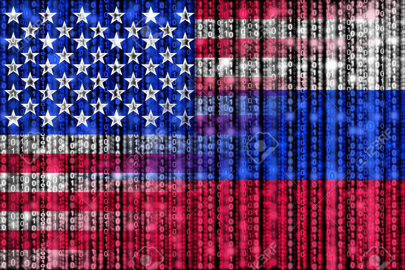 American digital flag morphing into russian binary flag