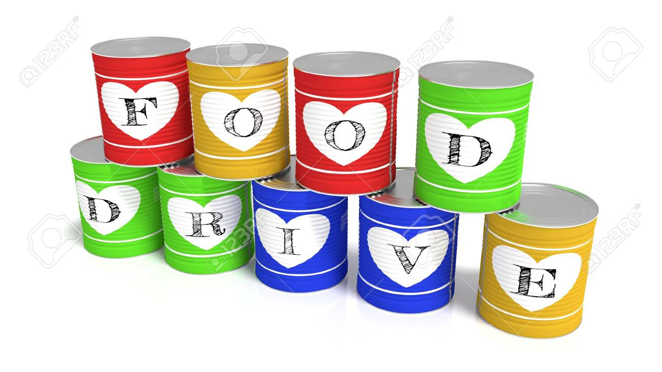Nine stacked tin cans in different colors each with a letter of the words food drive charity 3D illustration - 87072497