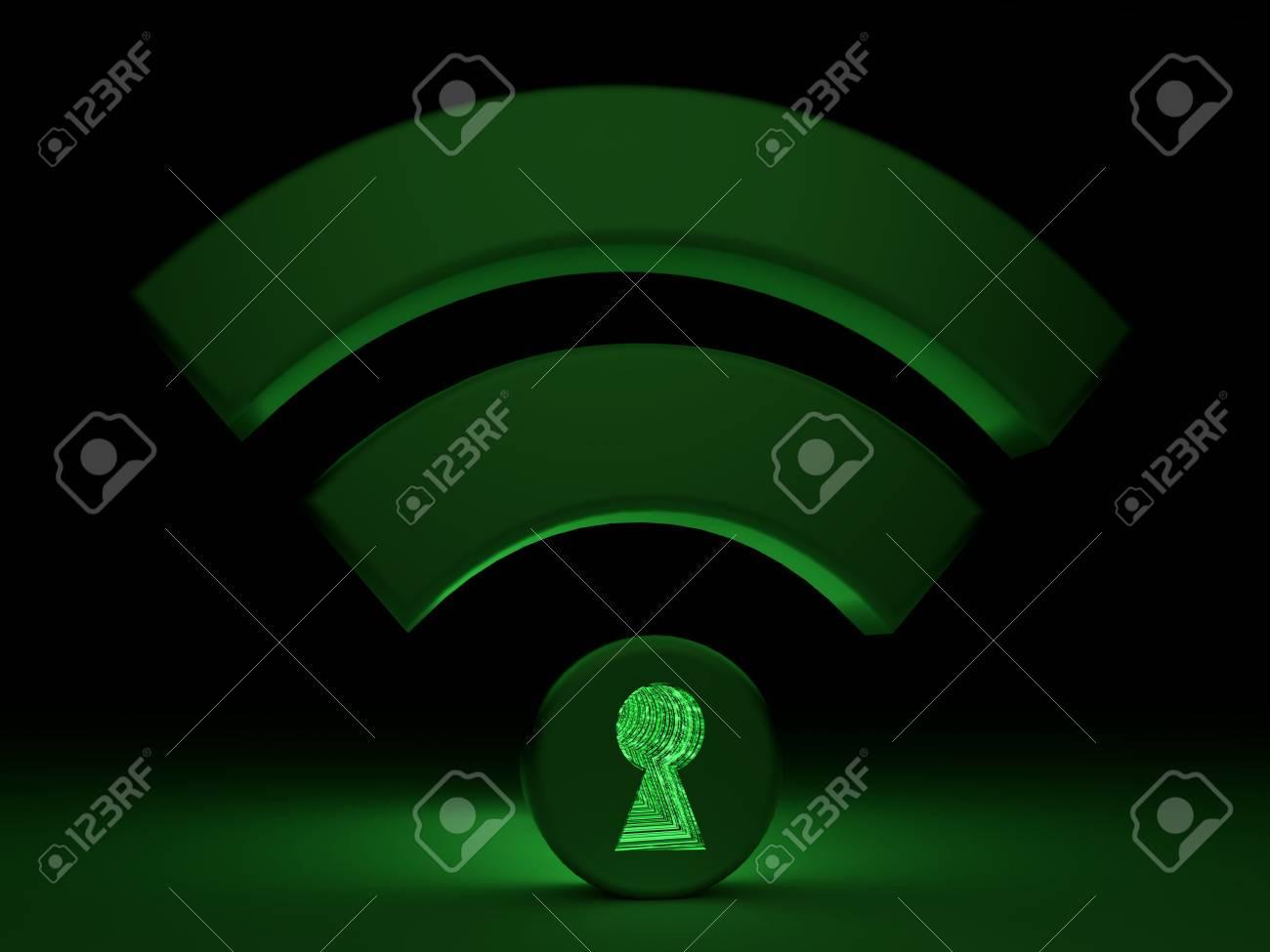 Glowing green wifi symbol in a dark room with a keyhole in the glowing green wifi symbol in a dark room with a keyhole in the dot textured with biocorpaavc