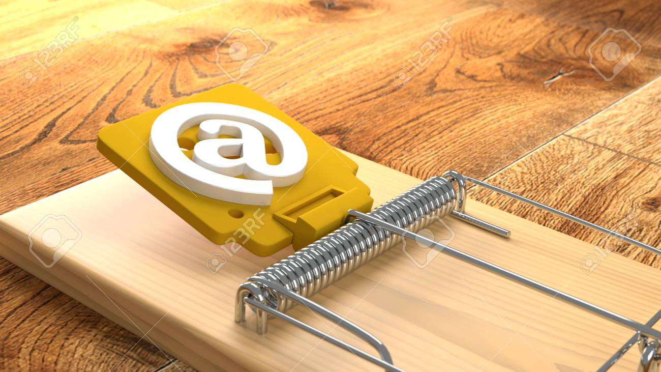 Mousetrap On Wooden Floor With An At Symbol Phishing Cybersecurity