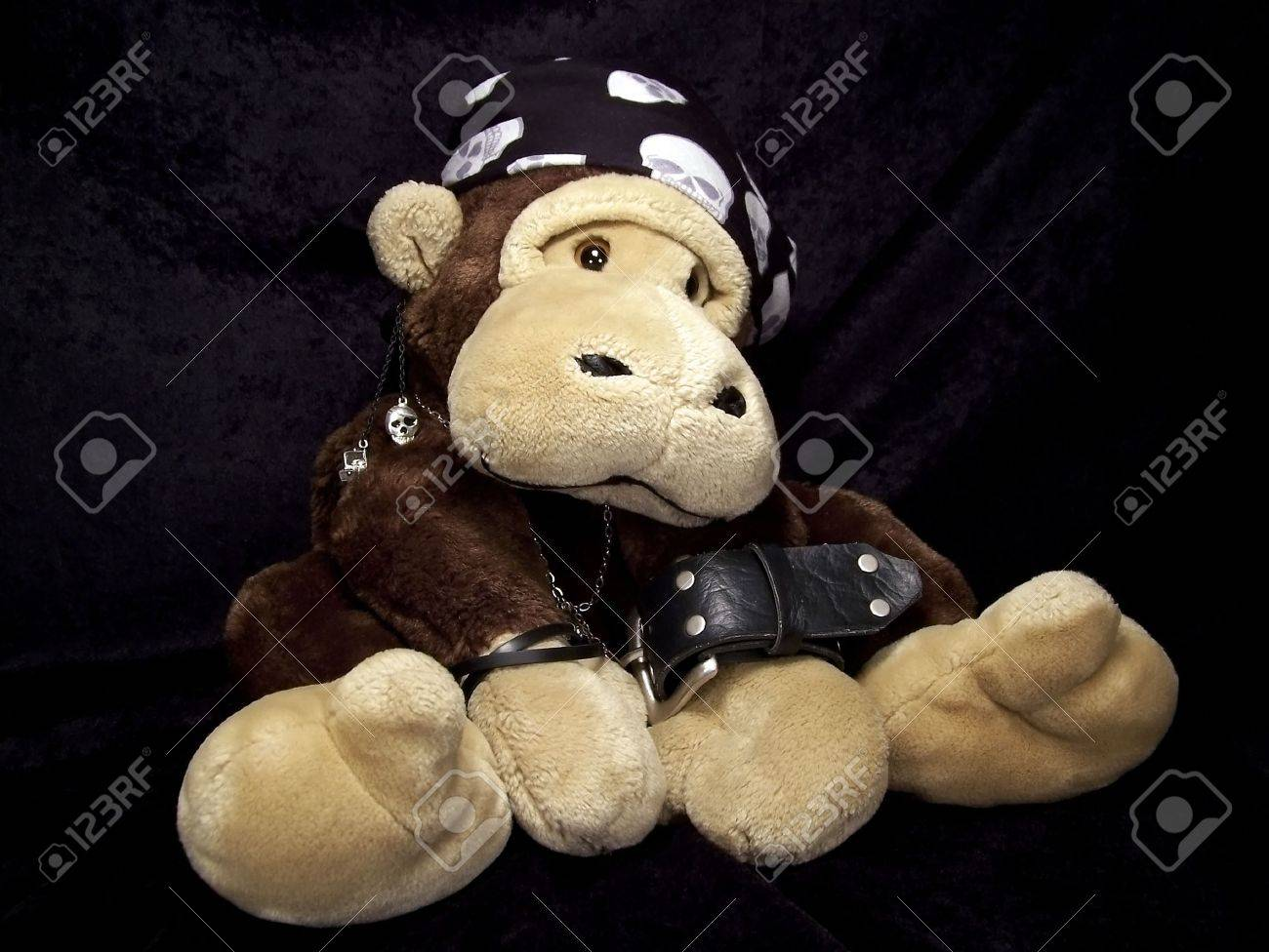 Portrait of a stuffed monkey dressed up as a tough guy with a skull bandana, black leather bracelets, a chain, and an earring. Stock Photo - 2115657