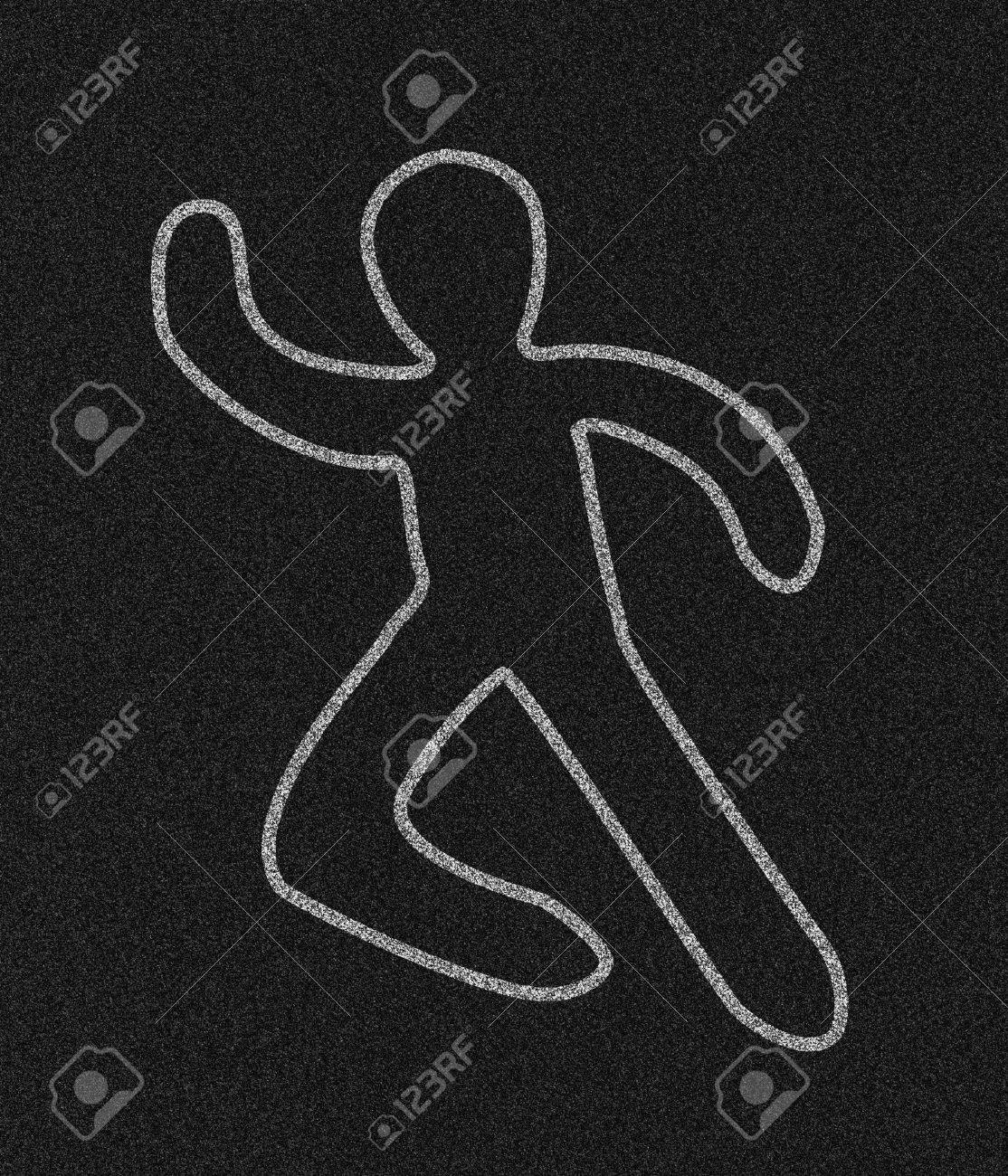 Chalk outline of a person on black asphalt textured pavement. Stock Photo - 2175250